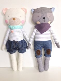 Bear and Wolf from BulaLula. Handmade fabric Dolls.