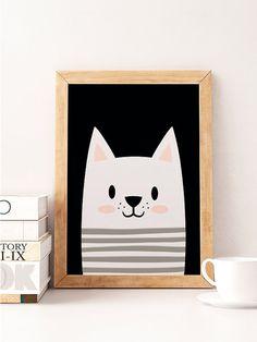 Cat print Cute cat Animals print Scandinavian print by NorseKids Mais