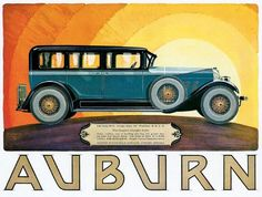 Auburn Sedan 8-88 motoring poster advert art deco style
