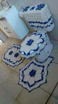 Jogo de banheiro | croche | barbante | branco | nude | azul | mesclado | com flores
