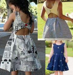 Patrón para hacer un precioso vestido para niñas con la espalda abierta. Tallas…