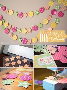 How To: DIY Paper Garland Easy for Kids fun  Guirnalda de papel estrellas circulos colores alegre niños infantil