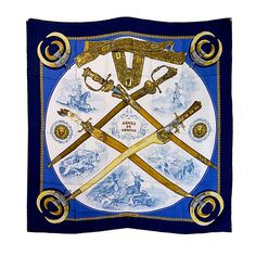 """Hermes """"Armes de Chasse"""" Silk Scarf   From a collection of rare vintage scarves at http://www.1stdibs.com/fashion/accessories/scarves/"""