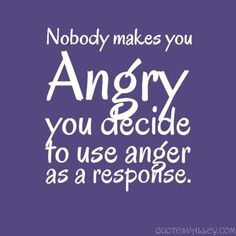 No one makes you angry; you decide to use anger as a response.