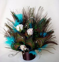 Turquoise Peacock Wedding Cake Topper Wedding Cakes by AmoreBride, $44.95