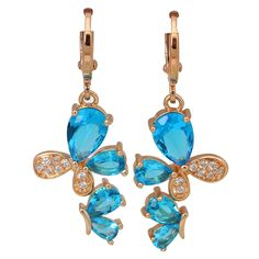 Find More Drop Earrings Information about New 2016 Latest Design jewelry 18k gold plated Royal Blue Topaz & White Topaz Brand earrings for women E305,High Quality earring rack,China earrings skeleton Suppliers, Cheap earring castings from Dana Jewelry Co., Ltd. on Aliexpress.com