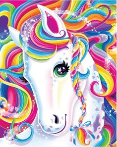 Lisa Frank Art -- We're sorry, but let's be real. but no one rivals the transcendence of the great Lisa Frank. Learn to paint and live as colorfully as our favorite childhood cartoonist. Unicorn Art, Rainbow Unicorn, Unicorn Painting, Magical Unicorn, Unicorn Horse, Rainbow Hair, Lisa Frank Unicorn, Unicorn Pictures, 5d Diamond Painting