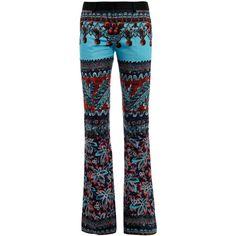 Prabal Gurung Flowering Damiana-print boot-leg trousers ($1,826) ❤ liked on Polyvore