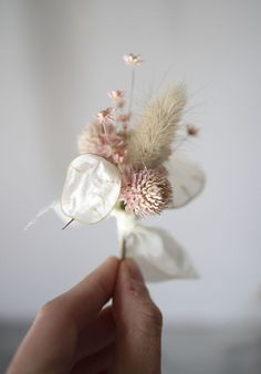 Dried floral boutonniere by We Are Gathered, pink flowers, silk ribbon, bunny tail Dried Flower Bouquet, Dried Flowers, Pink Flowers, Flower Bouquets, Floral Wedding, Wedding Bouquets, Wedding Flowers, Purple Bouquets, Pink Bouquet