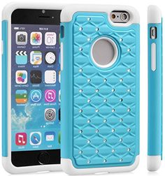 """myLife Aqua Blue + Frost White {Hybrid Bling Design} 2 Layer Hybrid Case for the NEW iPhone 6 (6G) 6th Generation Phone by Apple, 4.7"""" Screen Version (Single External Fitted Hard Protector Shell + Full Body Internal Silicone EASY-Grip Bumper Gel Protection) myLife Brand Products http://www.amazon.com/dp/B00NI4SHV4/ref=cm_sw_r_pi_dp_pMepub15YA2VE"""