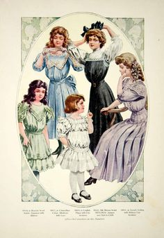 1907 Color Print Fashion Costume Clothing Young Women Girls Children Art YDL4