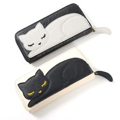 These elegant long wallets each have a cute motif of the adorable sleeping cat, Pooh-chan on the front. Available in black, pink, or ivory each stylish wallet has an all round zip design and opens up to reveal a number of different pockets inside that you can use to organize your cash and cards plus a zippered pocket in the middle for loose change or even keys and other small items. Cute and elega...
