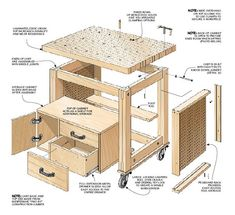 Heavy-duty design, large worksurface, and loads of storage add up to a versatile project. Woodworking Table Plans, Woodworking Furniture, Custom Woodworking, Woodworking Projects Plans, Diy Furniture, Woodworking Basics, Woodworking Classes, Woodsmith Plans, Diy Shops