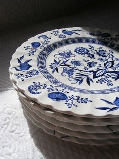 """This is where it all started... I grew up in a kitchen with a large hutch, built by my father, to hold my mother's large collection of """"Blue Onion"""" dishes, along with random blue/white transferware pieces, cobalt glass, several sets of ceramic hens  roosters and my grandmother's milk glass."""