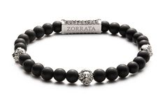Three Lions - Silver Authentic 6mm black matte onyx stones 3 High quality silver plated signature Zorrata lion heads Zorrata logo back piece with 54 delicately placed black crystals
