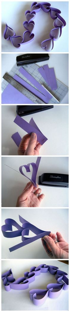 photo tutorial ... Valentine Heart Paper Chain ~ DIY ... easier than it looks when you know when to staple ...