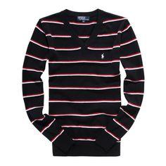 Ralph Lauren Small Pony stripe mens v neck sweaters