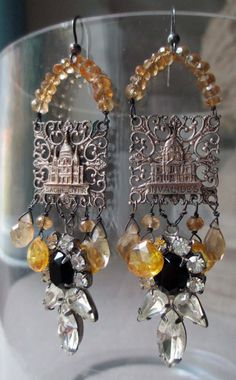 'sunrise over paris' vintage assemblage earrings with citrine by The French Circus, $72.00
