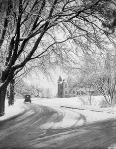 Snowy roads on campus. Copyright K-State Photo Services. Commercial or media use of this image must have approval. Please email photo for details. Manhattan Kansas, Kansas State University, Alma Mater, Old Pictures, Abandoned, Journey, Roads, Celebration, Pride