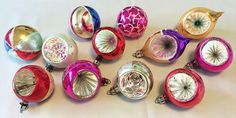 1930s-1940s Vintage Poland Dozen Mouth Blown Glass Indent Christmas Ornaments in Original Box! . . . Superb collection of 12, with hand painted glitter and mica decoration, sparkly radial sunburst indents, and brilliant colors!
