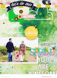 #papercraft #scrapbook #layout  Spring, You are Awesome *Main Kit* by celine navarro at @Studio_Calico