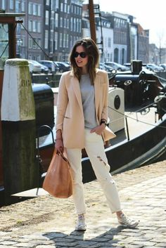 Its all about how this color palette lightens up a blazer and denim look.