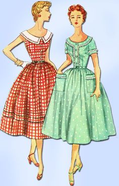 Simplicity Pattern 4641 Misses Day Dress Pattern This dress is a mother/daughter design, there is a daughter version available in toddler sizes Dated 1953 Factory Folded and Unused Rare New Old Stock