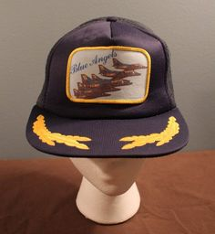Vintage US Navy Blue Angels Aircraft Patch with Gold Embroidery Mesh  Trucker Hat 1c1924c30ae0