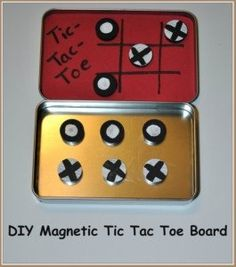 Make a travel-size Tic-Tac-Toe set with a metal case (Altoid or gift card case), foam, magnets and paint. The paint is used to creat the two sets of playing pieces, so the sky's the limit on decorating your pieces. Crafts For Boys, Craft Activities For Kids, Cute Crafts, Easy Crafts, Easy Craft Projects, Craft Ideas, Kid Projects, Game Ideas, Tic Tac Toe Board