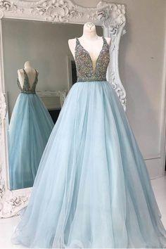 Deep V-neck Light Blue Backless Sleeveless Floor-length Tulle Prom Dress with Beads,Party Dress,N392