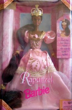 """Rapunzel Barbie Doll AA (1997) by Mattel. $19.99. Let my hair down from crown again 'n again!. DOLL IS 12"""" TALL BARBIE RAPUNZEL WITH HER CROWN & LON BROWN HAIR TIED IN GOLD BOWS, BEAUTIFUL PINK GOWN WITH GOLD DECORATION, PINK ROSE BOWS AT TOP OF BODICE & AT BOTTOM OF SKIRT. CROWN NOT REMOVABLE"""