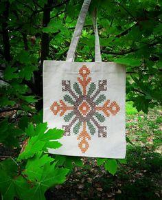 Kanaviçe işi ile süslenmiş bez çanta Reusable Tote Bags