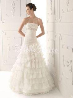 Robe de Mariée 2013-A-ligne bretelles à volants perles Robe de mariée en organza