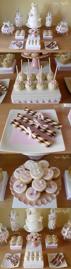Sugar Ruffles, Elegant Wedding Cakes: Pink and White Dessert Table