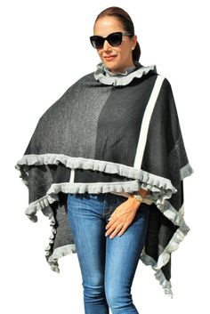 Nicolle Square Pattern Ruffle Wrap