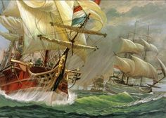 "Convoy de mercantes holandeses escoltados por un navío de línea (en primer plano) de ""La Vie Privée Des Hommes-A Bord Des Grands Voiliers Du XVIIIè Siècle"" Más en www.elgrancapitan.org/foro"
