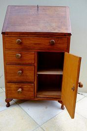 similar to style of art desk I want to eventaully create for Kheiron ... old writing desk with loads of storage and drop down desk space