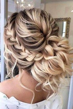 Braided prom hair updos may be considered in case you opt for a more classic sty., Braided prom hair updos may be considered in case you opt for a more classic style that reflects tender beauty. So, read on to learn what's in trend. Prom Hairstyles For Long Hair, Braids For Short Hair, Bridesmaid Hairstyles, Long Haircuts, Summer Hairstyles, Wavy Hair, Evening Hairstyles, Curly Up Do, Braids For Prom