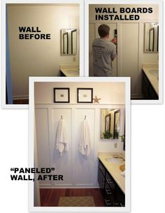 "For Master Bath - To add a little interest to the plain walls, add some 1"" by 4"" boards to one wall. Adds a little architecture to the room...a coastal cottage feel.  Just glue and nail gun the boards on the wall (easy), then paint everything (possibly a cool white, like Dunn Edwards, Swiss Coffee) to expand, lighten, and freshen-up a small, windowless space."