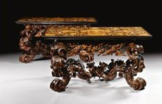 Italian ivory, stained horn & pewter-inlaid ebony, rosewood, walnut, fruitwood & marquetry console tables circa Nothing is made with this quality and detail anymore!