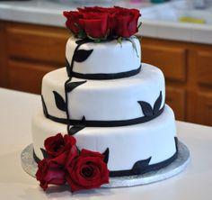 Elegant Wedding Cake with real roses