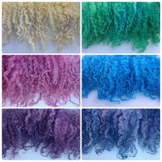 Locks of lambs wool dyed with food colouring in the microwave oven Fabric Dolls, Fabric Art, Sheep Crafts, Textiles, Knitting Wool, Felt Diy, Food Coloring, Needle Felting, Wool Felt