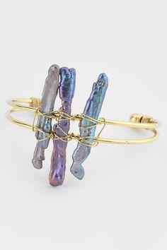 Blue Abalone Bracelet in Gold on Emma Stine Limited