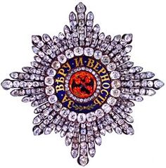 Star of the Order of Saint Andrew, St Petersburg, circa, 1774.  Gold, Silver, diamonds (24.27 carats), 3 1/4 x 3 1/4 in (8.0 x 8.0 cm).  The State Diamond Fund of the Russian Federation.