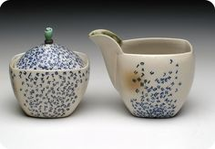 Julia Galloway - Still Life - Cream and Sugar Set with Blue Letters, Talking