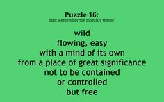 Puzzle 16: What does this Diamante poem describe?   Puzzle play