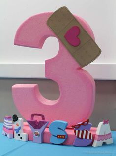 Centerpiece for a Doc McStuffins Birthday Party