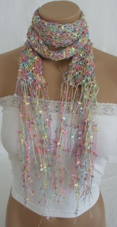 Hand knitted colorful elegant butterfly scarf by Arzus on Etsy, $19.90