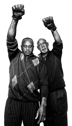Tommie Smith and John Carlos, U.S. Olympians. They made history when at the 1968 Summer Olympics in Mexico City, Mexico, during the American national anthem, they raised black-gloved fists (for human rights), were shoeless with black socks (for Black poverty), and wore OPHR badges. Smith also wore a black scarf (for Black pride) & Carlos, an unzipped jacket (for blue collar workers) and a bead necklace (for those lynched, killed, hanged or tarred, and thrown off boats during the Middle…