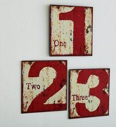 Tabliczki metalowe z cyframi (zestaw 3 szt.), Adid